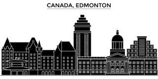 Le Canada, l'horizon de ville de vecteur d'architecture d'Edmonton, paysage urbain de voyage avec des points de repère, bâtiments Photo stock