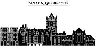 Le Canada, l'horizon de ville de vecteur d'architecture de Québec, paysage urbain de voyage avec des points de repère, bâtiments, Photo stock