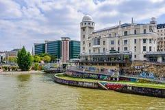 Le canal à Vienne, Autriche photos libres de droits