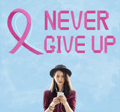 Le cancer du sein croient le concept de maladie de femme d'espoir Image stock