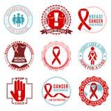 Le cancer du sein symbolise Logo Set Images libres de droits