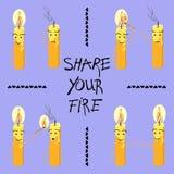 Le candele con l'iscrizione dividono il vostro fuoco Vettore illustrazione vettoriale
