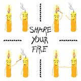 Le candele con l'iscrizione dividono il vostro fuoco Vettore illustrazione di stock