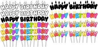 Le candele variopinte del testo di buon compleanno sui bastoni hanno messo 2 Fotografia Stock Libera da Diritti