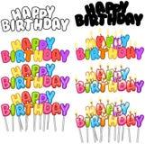 Le candele variopinte del testo di buon compleanno sui bastoni hanno messo 3 Fotografia Stock Libera da Diritti