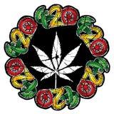Le cannabis de marijuana a donné à l'illustration une consistance rugueuse de timbre de conception de symbole de feuille Photographie stock