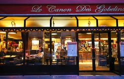 Le Canon des Gobelins is traditional French cafe located on Boulevard de Port Royal in Paris. Paris , France-May 19, 2019 : Le Canon des Gobelins is traditional royalty free stock photos