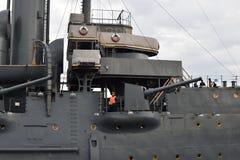 Le canon intégré du croiseur Avrora photos libres de droits