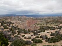 Le canyon de Bighorn avec les murs rouges et bronzages raides de roche Photographie stock libre de droits