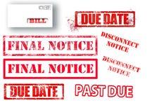 Le caoutchouc rouge de lettres embouti avec l'information de facturation redoutée sont vus dans ces ressources graphiques illustration stock