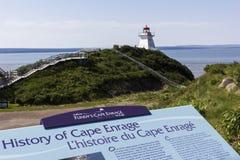 Le cap exaspèrent le phare au Nouveau Brunswick dans le Canada Photographie stock