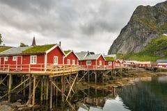 Le capanne rosse di pesca hanno chiamato Rorbu in Reine, Norvegia Fotografie Stock