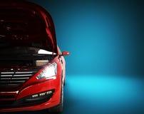 Le capot ouvert d'une voiture avec la vue du moteur 3d rendent sur le bleu Image stock