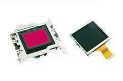 Le capteur de CMOS et l'affichage à cristaux liquides examinent l'appareil photo numérique Photographie stock libre de droits
