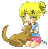 Le caractère blond de fille d'enfant de bande dessinée mignonne est jouant et caressant Photos stock