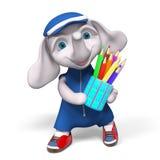 Le caractère d'éléphant de Funnyl avec des crayons a isolé le rendu 3d Images libres de droits