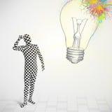 le caractère 3d humain est costume de corps regardant le lig coloré abstrait Image libre de droits