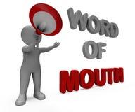 Le caractère de bouche à oreille montre la mise en réseau Discussin de communication Photo libre de droits