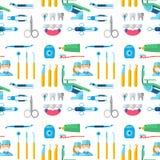 Le caractère de docteur de dentiste et la médecine d'équipement de stomatologie équipent l'illustration sans couture de vecteur d Photo libre de droits