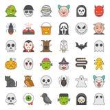 Le caractère de Halloween a rempli ensemble d'icône de vecteur d'ensemble illustration stock