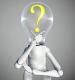 Le caractère de lampe a un doute Photos libres de droits