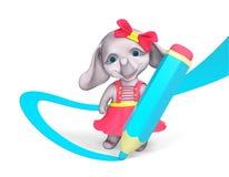 Le caractère drôle d'éléphant de fille dessine avec le grand rendu du crayon 3d Image libre de droits