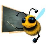 le caractère drôle d'abeille de miel de la bande dessinée 3d enseigne au tableau noir Image stock