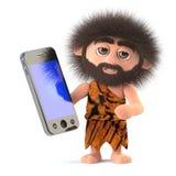 le caractère drôle d'homme des cavernes de la bande dessinée 3d a un dispositif de comprimé de smartphone Photos libres de droits