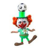 le caractère drôle de clown de la bande dessinée 3d équilibre un football sur sa tête Photographie stock