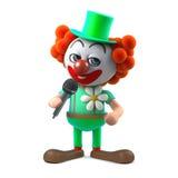 le caractère drôle de clown de la bande dessinée 3d plaisante dans le microphone Photos stock