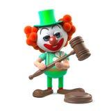le caractère drôle de clown de la bande dessinée 3d tient une vente aux enchères Images libres de droits