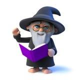 le caractère drôle de magicien de la bande dessinée 3d lit de ses charmes magiques de livre illustration libre de droits