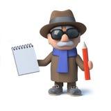 le caractère drôle de vieil homme de la bande dessinée 3d prend des notes avec la protection et le crayon Photos stock