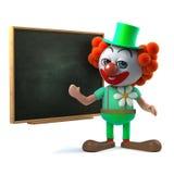 le caractère drôle du clown 3d se tient prêt un tableau noir Image libre de droits
