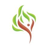 Le caractère humain abstrait avec le vert part - dirigez l'illustration de calibre de logo Signe d'abstraction d'arbre Symbole de Image libre de droits