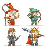 Le caractère médiéval de jeu de l'action RPG d'imagination de voleur de roi de guerrier de tireur d'élite d'archer de magicien de illustration de vecteur