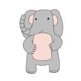 Le caractère mignon d'éléphant de bande dessinée, vecteur a isolé l'illustration dans le style simple illustration stock