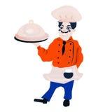 Le caractère drôle de restaurant de bande dessinée, joyeuse icône de cuisinier, n'a isolé aucun fond, homme de chef, faisant cuir Photo libre de droits