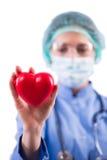Le cardiologue de docteur d'isolement sur le fond blanc Images stock