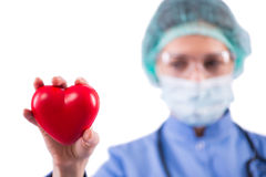 Le cardiologue de docteur d'isolement sur le fond blanc Photographie stock libre de droits