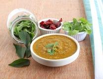 Le cari indien de nourriture laisse le chutney photographie stock libre de droits