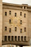 Le Carillon du Mont des Arts in Brussels. Le Carillon du Mont des Arts is a Jacquemart Carillion clock with 24 bells found on a arch of the Mont des Arts. You Stock Photo