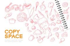Le carnet avec l'ensemble de dessin de main de fille d'enfant, imaginent de la future profession illustration stock