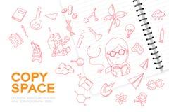Le carnet avec l'ensemble de dessin de main de fille d'enfant, imaginent de la future profession illustration de vecteur