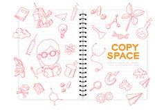 Le carnet avec l'ensemble de dessin de main de fille d'enfant, imaginent de la future profession illustration libre de droits