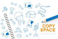 Le carnet avec l'ensemble de dessin de main de garçon d'enfant, imaginent de la future illustration d'idée de concept de ` de bou illustration de vecteur