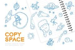 Le carnet avec l'ensemble de dessin de main de garçon d'enfant, imaginent de la future profession illustration libre de droits