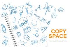 Le carnet avec l'ensemble de dessin de main de garçon d'enfant, imaginent de la future profession illustration stock