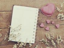 Le carnet ouvert avec une page vide et décorent la couleur de filtres de vintage Photographie stock