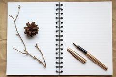 Le carnet, le stylo d'or et le concert sur le bureau, les cônes secs et les branches ont décoré la table images libres de droits